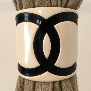 "CHANEL Vintage Scarf Tie Cuff Bracelet 3"" x 3"""